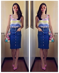 Cassey Cakes - Mango Top, Forever21 Denim Skirt, Dorothy Perkins Pink Pumps - Rainbow