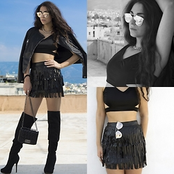 Marina Mavromati - Cento Fashion Black Leather Jacket, Dresslink Black Cutout Crop Top, Dresslink Mirrored Sunglasses, Yoins Black Leather Fringed Skirt, Cndirect Black Leather Tote Bag, Amiclubwear Black Suede Over The Knee Boots - BLACKOUT