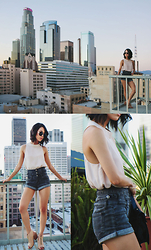 Eunice Kim - Lucca Couture Beige Chiffon Halter Top, Forever 21 Faded Black High Waisted Shorts, Shoemint Nude Zip Thick Heels, Sunglass Spot Circle Sunnies - City Chic