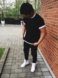 Jason - H&M Black Tee, Adidas Dropstep Trainer, H&M White Tee, Just Junkies - Black and white