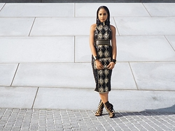 The Stylish Flaneuse - H&M Balmain X Jeweled Handbag, H&M Balmain X Pencil Dress, H&M Balmain X Braided Heels, H&M Balmain X Cuff Bracelet, H&M Balmain X Multi Strand Necklace, H&M Balmain X Jeweled Earrings - #HMBalmaination : Empress