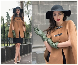 Kristina Byrne - Zara Cape, Zara Dress, Vintage Store Gloves, H&M Hat, Zara Heels - Fall for Fall <3