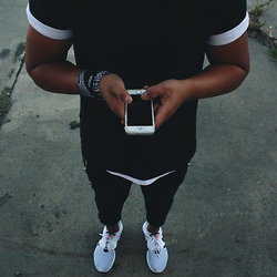 Jason - H&M Black Tee, Asphalt White Tee, Just Junkies Zip Joggers, Nike Roshe Run, Bandanaking Bandana - BlackWhite outfit