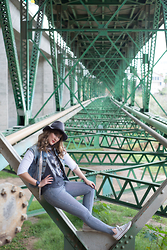 Jordan Jones - Junkfood Clothing Brand The Who Band Tee Shirt, American Apparel Pinstripe High Waisted Skinny Jean, Converse Low Top White Sneakers, Levi's® Vintage Levis Vest, Blues & Shoes Clothing Grey Felt Hat - It's Water Under The Bridge