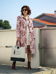Teresa Leite - Tany Couture Self Made Flower Print Cassock Coat, Zara Off White Leather Look Flared Dress, Le Pandorine Shopper Bag With Jackie Kennedy's Fashion Quote, Zara Burgundy Lace Up Sandals, Von Zipper Hexagonal Sunglasses - Flower print Cassock Coat (self-made)