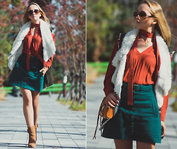 Olga Choi - Larmoni Denim Button Skirt, H&M Rust Blouse, Rebecca Minkoff Mab Bag, Celine Sunglasses, Charles & Keith Ankle Boots, Onecklace Name Necklace - 70's mind