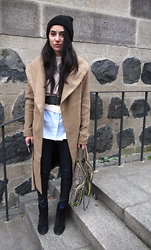 Eraclia Skoufari - Vero Moda Coat, Stella Mccartney Mc Cartney Bag, Zara Boots, Zara Cardigan, H&M Baby Blue Shirt - Love Is