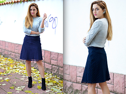 Martina Manolcheva - Zara Skirt - Grey Meets Navy