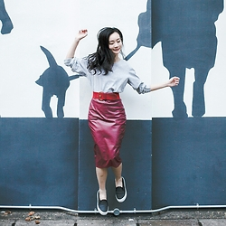Ren Rong - Cndirect Leatherette Skirt, Spurr Monique Sneakers - Red Against Shadows on the Wall