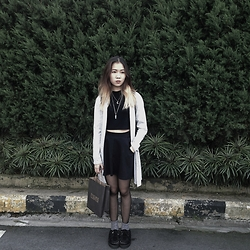 Viwern W - Tightrope Cardigan, Cotton On Black Skater Skirt, H&M Grey Socks - LIKE A NOOSE AROUND MY NECK