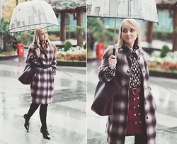 Olga Choi - Larmoni Button Skirt, Felix Rey New York Umbrella, Daisy Street Oxford Shoes, Stefanel Plaid Coat - November rain