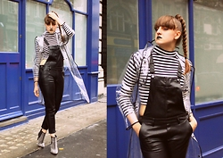 Agata Nika - Tk Maxx Stripy Top, H&M Leather Dungarees, Rain Coat, Zara Ankle Boots - Raindrops