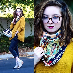 The Indie Girl Fleming - Urban Outfitters Oversized Knit Sweater, Cn Direct Grey Striped Trousers, Hermes Vintage Scarf, Warby Parker Laurel Glasses, Nila Anthony Panda Purse - Mustardseed
