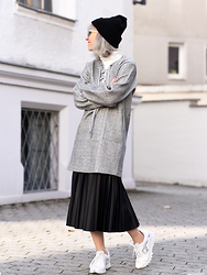 Esra E. - Frontrowshop Grey Lace Up Dress, Zara Black Pleated Skirt, Zara White Sneakers - Dress over skirt