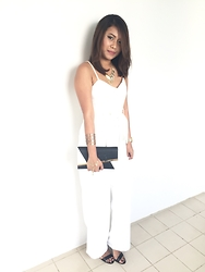 Nurul Amira - Charles And Keith Clutch, The Editor Market White Romper, Lovisa Leaves Necklace, Lovisa Leaves Bracelet, Charles And Keith Plain Black Heels - Dinner and Dance