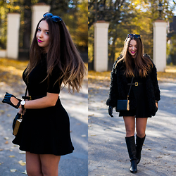 Gabriela Grębska - Sheinside Black Fur, Daniel Wellington Watch, Asos Leather Belt, Choies Clutch, Napo Gloves, Zara Dress, Czas Na Buty Boots - Perfect dress