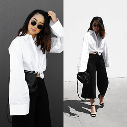 Kristy Wu - Cameo The Label Happening Culotte, Givenchy Pandora Mini, Nine West Mana Heel, Ray Ban Rb3447 Round Sunglasses - WIDE