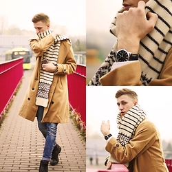 Adrian Kamiński - Lorus Watch, Tomtop Coat, Cropp Clothing Jeans, Badura Shoes, Second Hand Scarf - AutumnLook