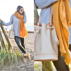 Wendy H G - Ralph Lauren Bag, Boden Leather Leggings, Topshop Scarf, Old Harry Jumper - Essential November ingredients