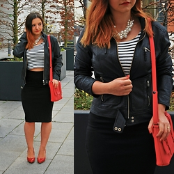 Ruxandra S - H&M Crop Top, High Waisted Skirt, Tally Weijl Pearly Necklace, Zara Fake Leather Jacket, Bag, Red Shoes - Striped Crop Top