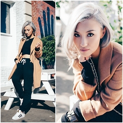 Gigi Lam - Coat, Joggers, American Apparel Crop Top, Adidas Superstars, Jord Wood Watch - WINTER ESSENTIALS