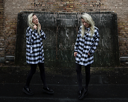 Annette Zer - Dressin Coin Necklace, Dressin Checkered Shirt Dress, Tuk Platform Creepers - White as the horses that carry me away