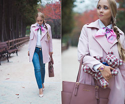 Olga Choi - Chicwish Pink Trench Coat, Michael Kors Bag, Ralph Lauren Teddy Bear, Yoins Denim - Ralph Lauren teddy