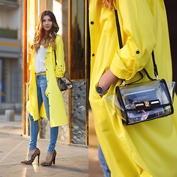 Larisa Costea - Shein Trench Coat, Shein Transparent Bag - Silky yellow
