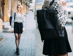 Anna Pogribnyak - Only Sweater, Topshop Boots, We Are Able Backpack - Take me to school