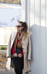 Jules - Tally Weijl Sunglasses, United Colors Of Benetton Coat, H&M Scarf, H&M Earrings, Sisley Top, Mango Bag, H&M Skirt, Calzedonia Tights - Color Match