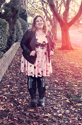 Kitty Wood - Crown & Glory Pastel Flower, Candy Strike Moth And Roses Dress, Asos Skeleton Leggings, Matalan Pleather Jacket - Candy Strike