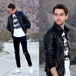 Matthew Bunker - Charles And 1/2 Leather Jacket, Urban Outfitters Long Tee, H&M Black Denim, Converse Chuck Taylors - Desert Storm