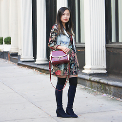 Mary G - Unknown Floral Dress, Rapsodia Denim Vest, Dressin Retro Satchel, Stuart Weitzman Knee High Boots - Almost Over-the-Knee
