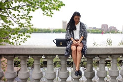 Charlene G. - Lanvin Tassled Loafers, H&M Leather Skirt, Zara White Top, Zara Aztec Cape - Aztec Cape and Leather Skirt