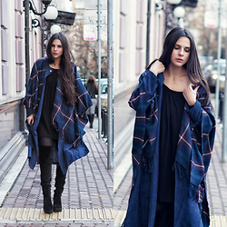 Yana P - Sheinside Trench, H&M Thigh High Boots, Asos Dress, Blanket Cape - Wear Your Blanket Out Today