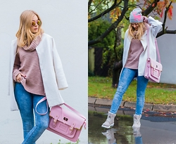 Marta Caban - Slope Cap, Milanoo Coat, H&M Sweater, Labotti Shoes - TIMBERKI PASTEL TRAPPER