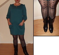 Selina M - Charity Shop Mini Dress, Primark Heart Print Tights, Swapped Rain Boots - Finding only glitter fluff in my pockets