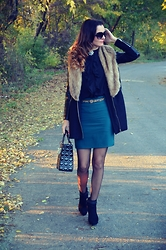 Butterfly Petty - Style Moi Fur Coat, Dressin Skirt, Pull & Bear Heels, Style Moi Blouse - Autumn leaves