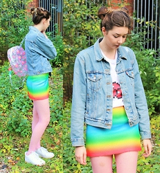 Nichola Rose - Grafitee T Shirt, Dolls Kill Skirt - RAINBOW PIXELS