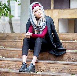 Ebba Zingmark - Sweet Denim Coat, &Other Stories Scarf, Lee Jeans, Henry Kole Boots, Junkyard Hat - BAZAAR