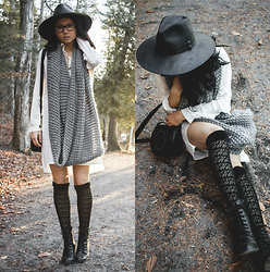 Jessica B. - Nasty Gal Hat, Yoins Shirt Dress - Monochrome