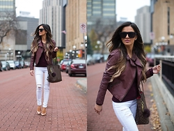 Maria Vizuete - Nordstrom Burgundy Moto Jacket, Free People Lace Up Layering Top, Topshop White Jeans, Christian Louboutin So Kate Heels - Laced Up.