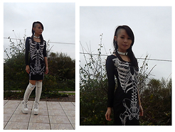 Nowaki Selenocosmia - Sheinside Skeleton Dress, White Platform Boots - Skeleton style