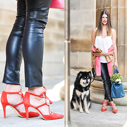 Wendy H G - Boden Leather Leggings, Boden Heels, Boden Jacket - Leather legs & furry body