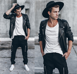 Klemens - Zara Jacket, Goorin Brothers Hat, H&M T Shirt, Balmain X H&M Pants, Adidas Shoes - BLACK + WHITE
