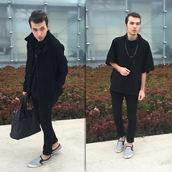Mateusz K. - Bershka Black Coat, Zara Black Sweatshirt, Giorgio Armani Bag, Bershka Shoes - Autumn