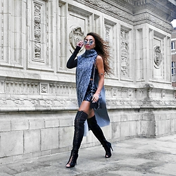 Larissa B. - Tony Cohen Haute Couture Turtle Neck Split Dress Top, Rebecca Minkoff Black Silver Hardware Bag, Missguided Lace Up Over Knee Boots - These boots were made for strutting...