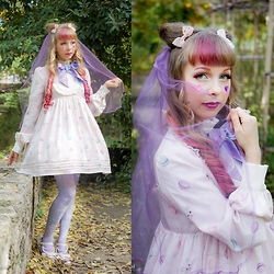Anastassia Wonderland - Funnyjewels Veil, Angelic Pretty Dreamy Planetarium Hairclip, Rose Marie Seoir Macarons & Kittens Op, Angelic Pretty Dreamy Planetarium Socks, Antaina Mermaid Shoes - Kitty Doll