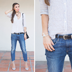 Tienlyn . - Striped Button Down, Boyfriend Jeans, Wrap Heels, Bolero Neck Tie - ABOUT FACE