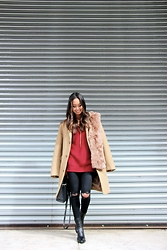 Linh Niller - J.Crew Camel Coat, Design History Maroon Sweater With Size Zip, Topshop Ripped Skinny Jeans - Bordeaux & Camel